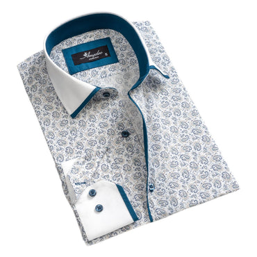 Mens Button Down Slim Fit 100% Cotton Summer Dress Shirt With Reversible Cuff In White Blue Paisley Long sleeve Casual And Formal