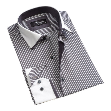 Men's European Reversible Tailor Fit Button Down Dress shirt Grey with White Lines 100% Cotton