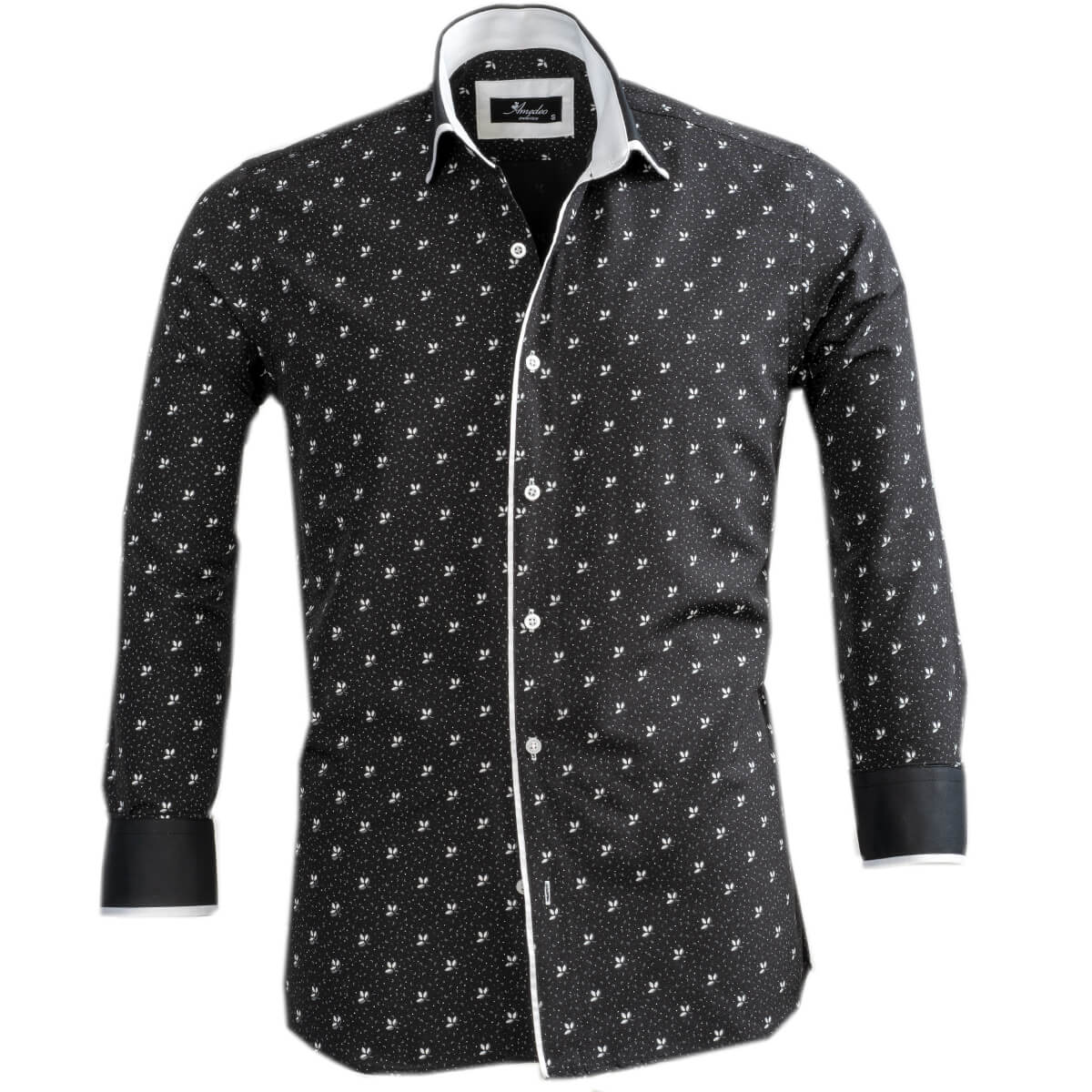 Black White Floral Mens Slim Fit Designer Dress Shirt - tailored Cotton Shirts for Work and Casual Wear - Amedeo Exclusive