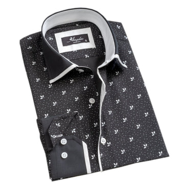 Mens Button Down Slim Fit 100% Cotton Summer Dress Shirt With Reversible Cuff In Black White Floral sleeve Casual And Formal