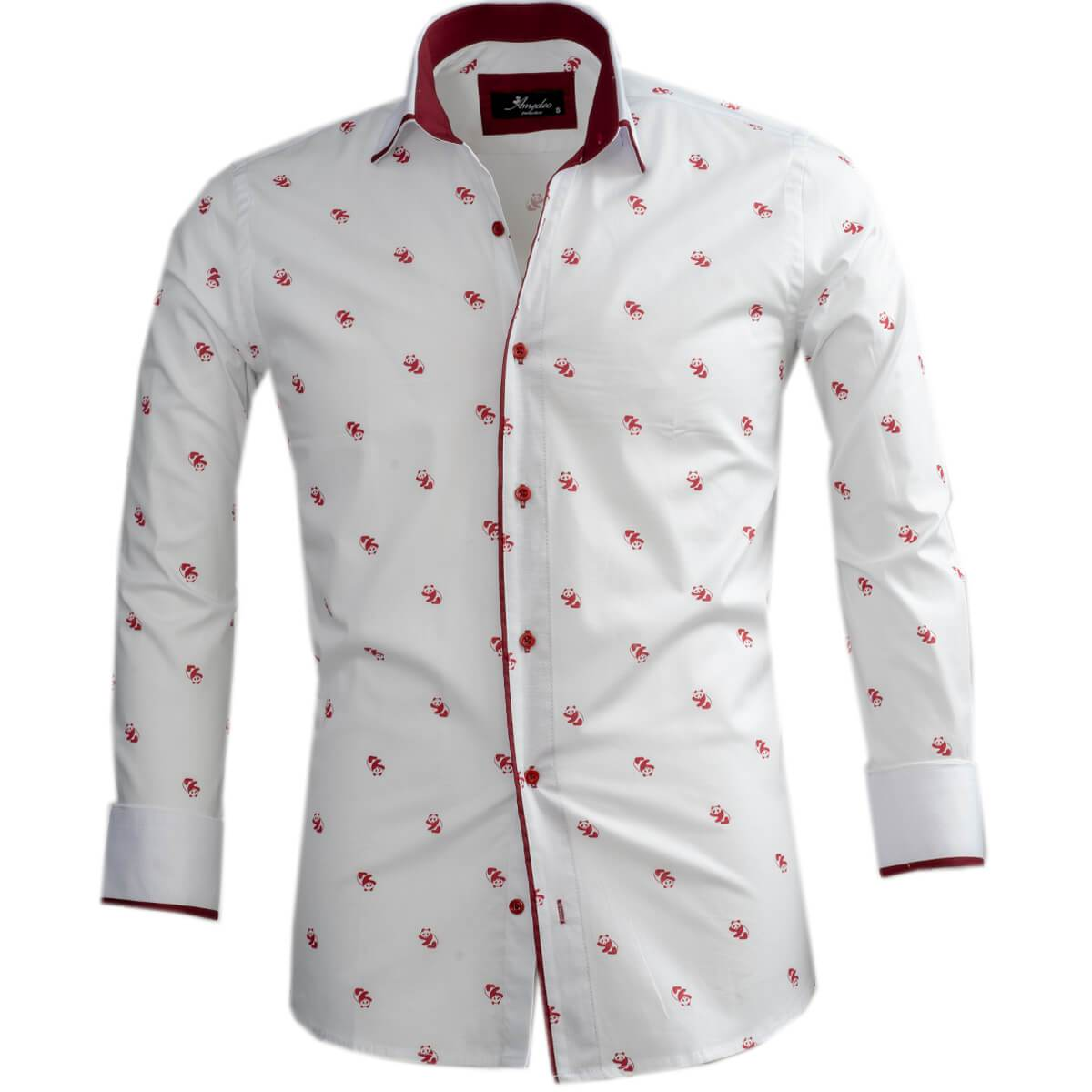 White Burgundy Panda's Mens Slim Fit Designer Dress Shirt - tailored Cotton Shirts for Work and Casual Wear - Amedeo Exclusive