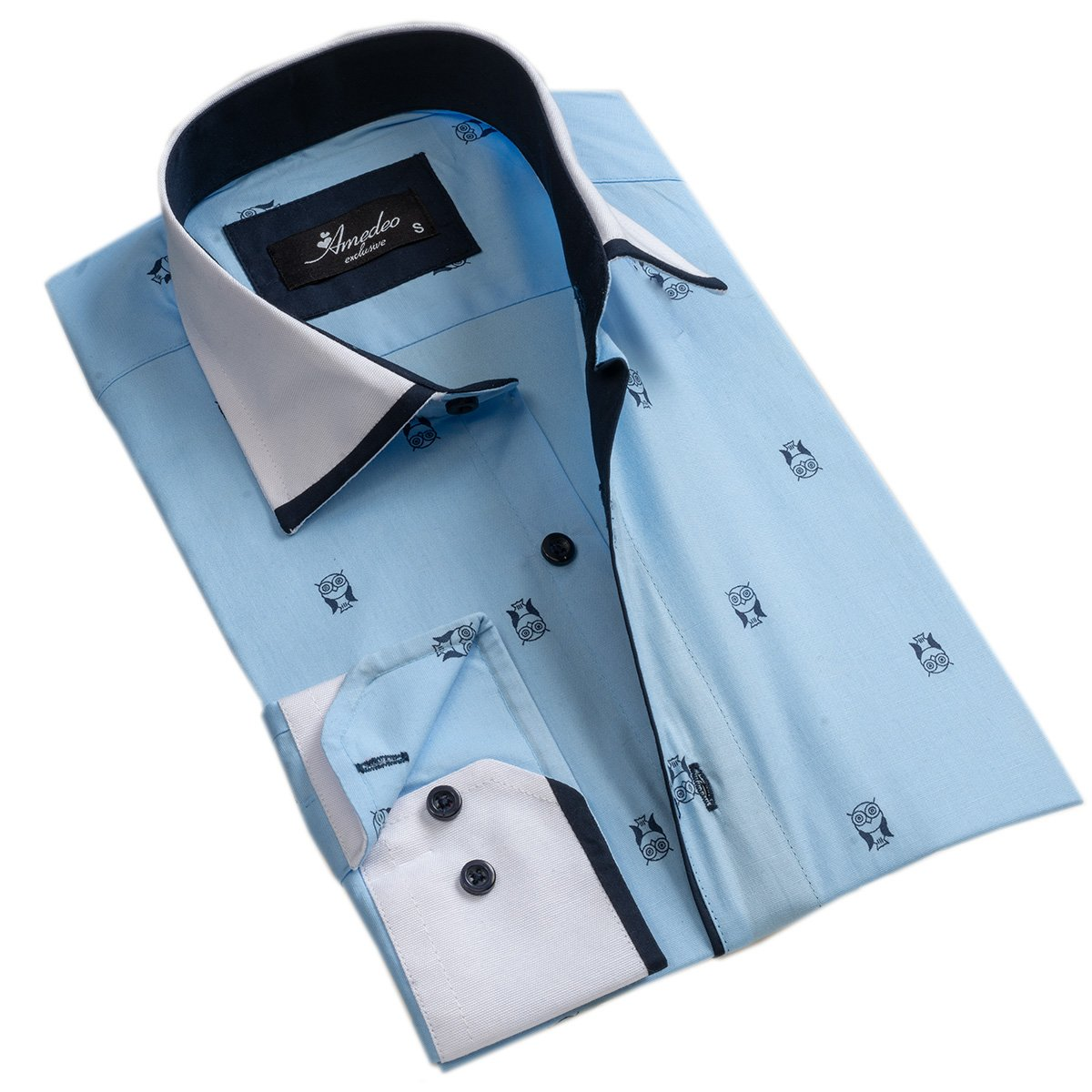 Light Blue w/ Navy Blue Mens Slim Fit Designer Dress Shirt - tailored Cotton Shirts for Work and - Amedeo Exclusive