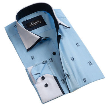 Men's European Reversible Tailor Fit Button Down Dress shirt Light Blue w/ Navy Blue Owls 100% Cotton