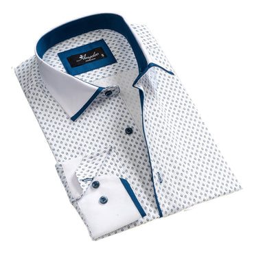 Mens Button Down Slim Fit 100% Cotton Summer Dress Shirt With Reversible Cuff In White & Blue Long sleeve Casual And Formal