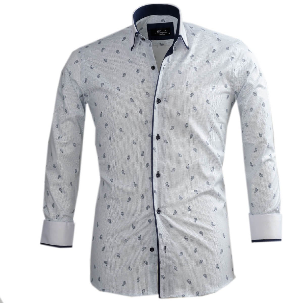 White Light Blue Paisley Mens Slim Fit Designer Dress Shirt - tailored Cotton Shirts for Work and Casual Wear - Amedeo Exclusive