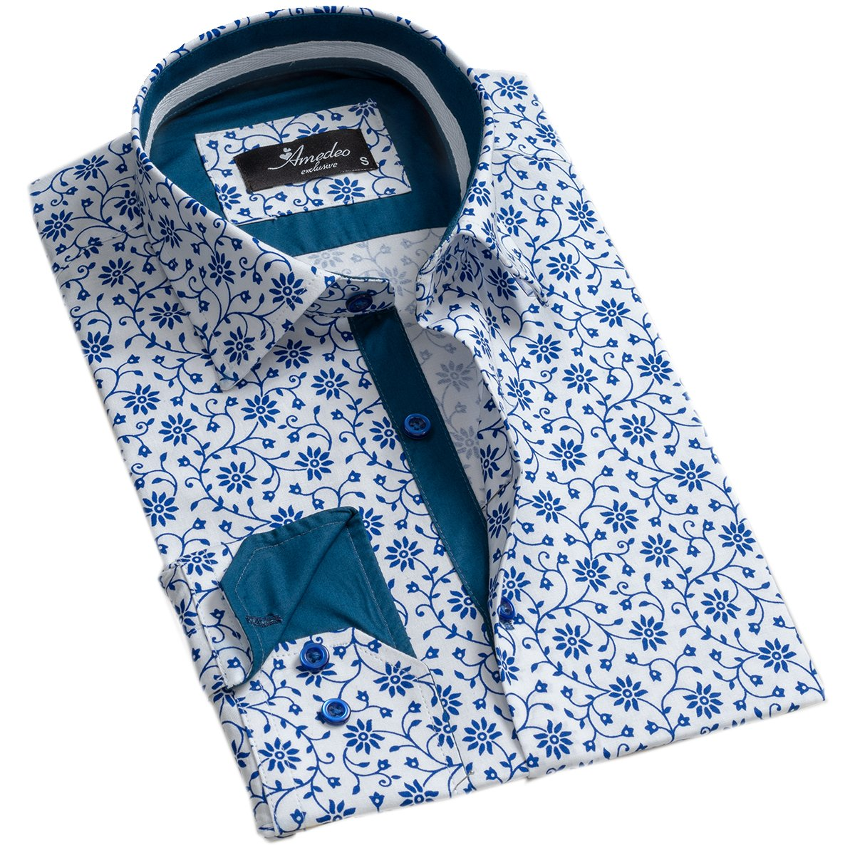 White Blue Floral Mens Slim Fit Designer Dress Shirt - tailored Cotton Shirts for Work and Casual Wear - Amedeo Exclusive