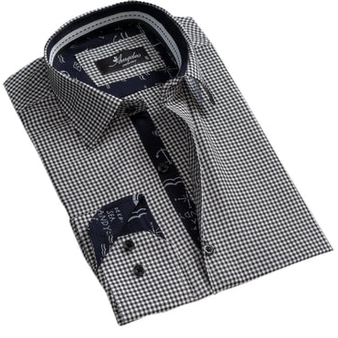Black White Checkers Mens Slim Fit Designer Dress Shirt - tailored Cotton Shirts for Work and Casual Wear - Amedeo Exclusive
