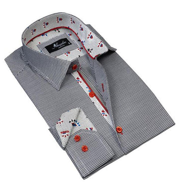 Mens Button Down Slim Fit 100% Cotton Summer Dress Shirt With Reversible Cuff In Black White Harringbone Casual And Formal