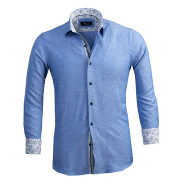 Mens Button Down Slim Fit 100% Cotton Summer Dress Shirt With Reversible Cuff In Light Denim Blue & White Casual And Formal