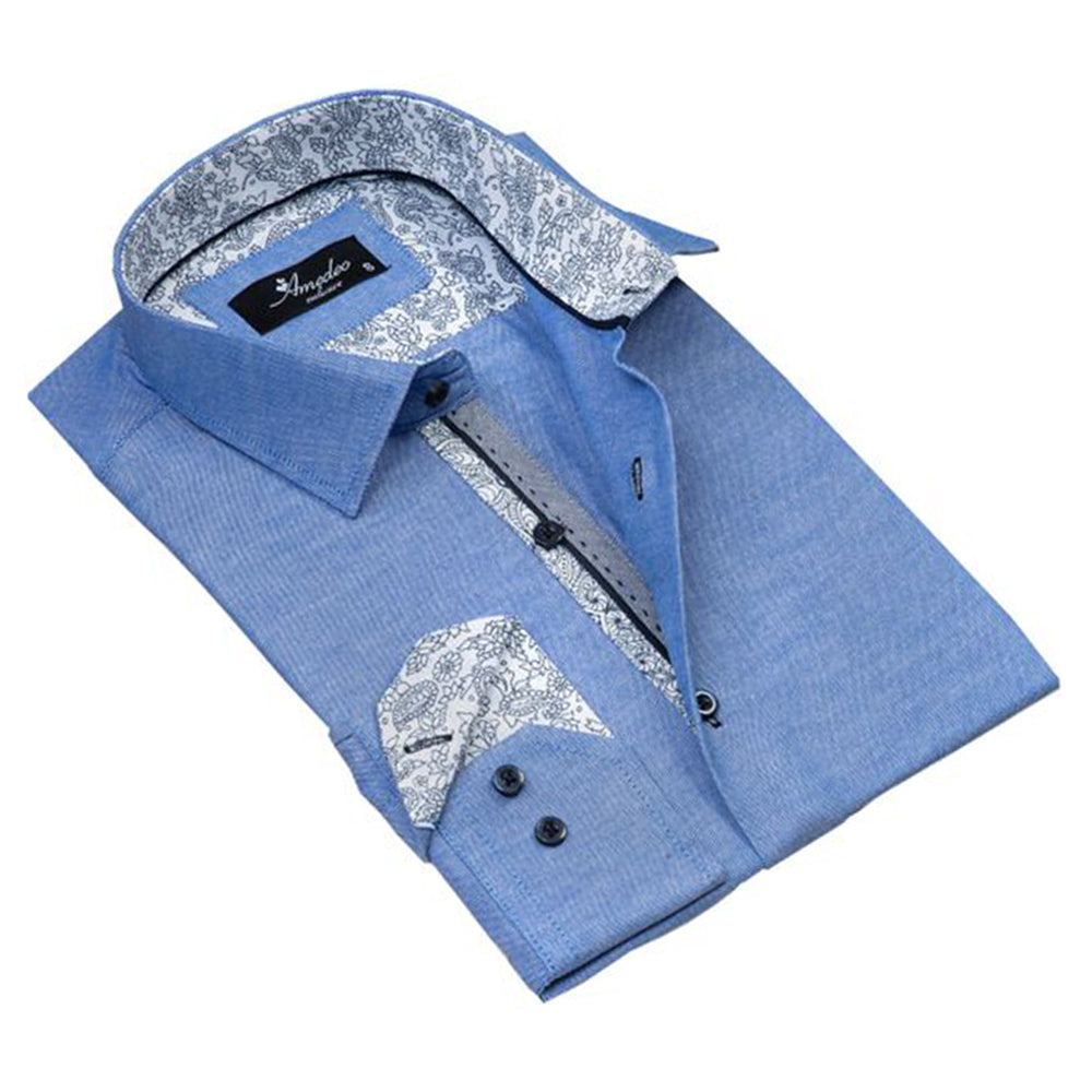 Light Denim Blue Mens Slim Fit Designer Dress Shirt - tailored Cotton Shirts for Work and Casual Wear - Amedeo Exclusive
