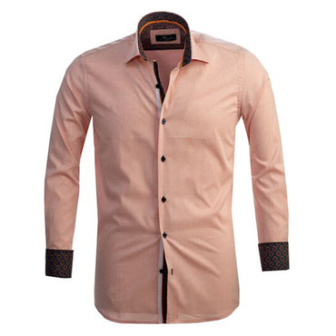 Mens Button Down Slim Fit Dress Shirt With Reversible Cuff In Light Orange Casual And Formal