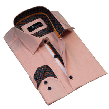 Mens Button Down Slim Fit 100% Cotton Summer Dress Shirt With Reversible Cuff In Light Orange Casual And Formal