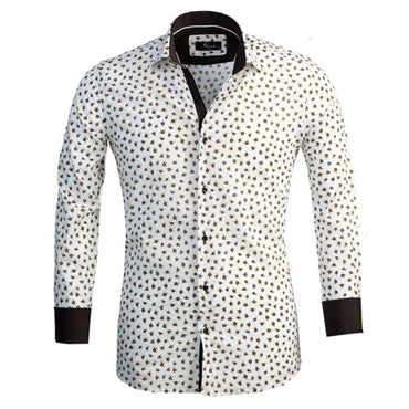 Mens Button Down Slim Fit Dress Shirt With Reversible Cuff In White & Brown Floral Casual And Formal