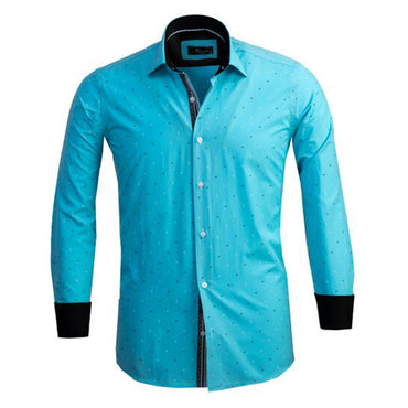 Mens Button Down Slim Fit Dress Shirt With Reversible Cuff In Turquoise Blue Diamonds Casual And Formal