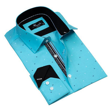 Mens Button Down Slim Fit 100% Cotton Summer Dress Shirt With Reversible Cuff In Turquoise Blue Diamonds Casual And Formal
