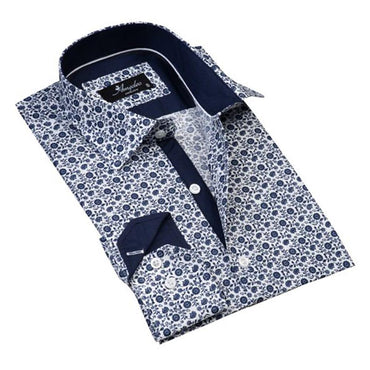 Mens Button Down Slim Fit 100% Cotton Summer Dress Shirt With Reversible Cuff In White & Blue Floral Casual And Formal