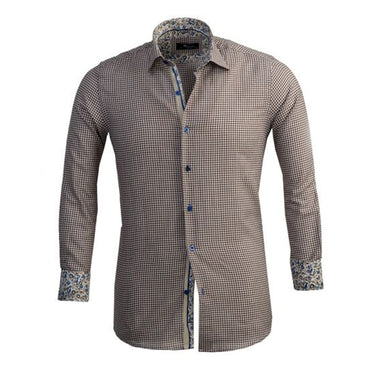Mens Button Down Slim Fit Dress Shirt With Reversible Cuff In Brown White Checkered Casual And Formal