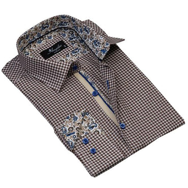Mens Button Down Slim Fit 100% Cotton Summer Dress Shirt With Reversible Cuff In Brown White Checkered Casual And Formal