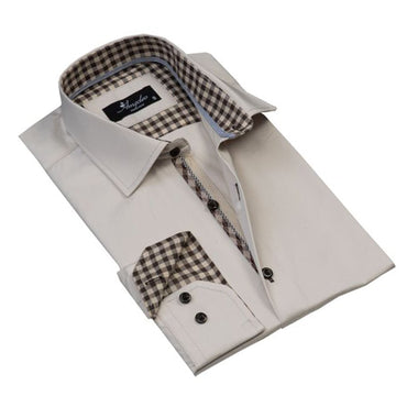 Mens Button Down Slim Fit Dress Shirt With Reversible Cuff In Cream & Brown Check Casual And Formal