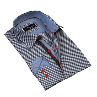 Mens Button Down Slim Fit Dress Shirt With Reversible Cuff In Navy Blue White Checkered Casual And Formal