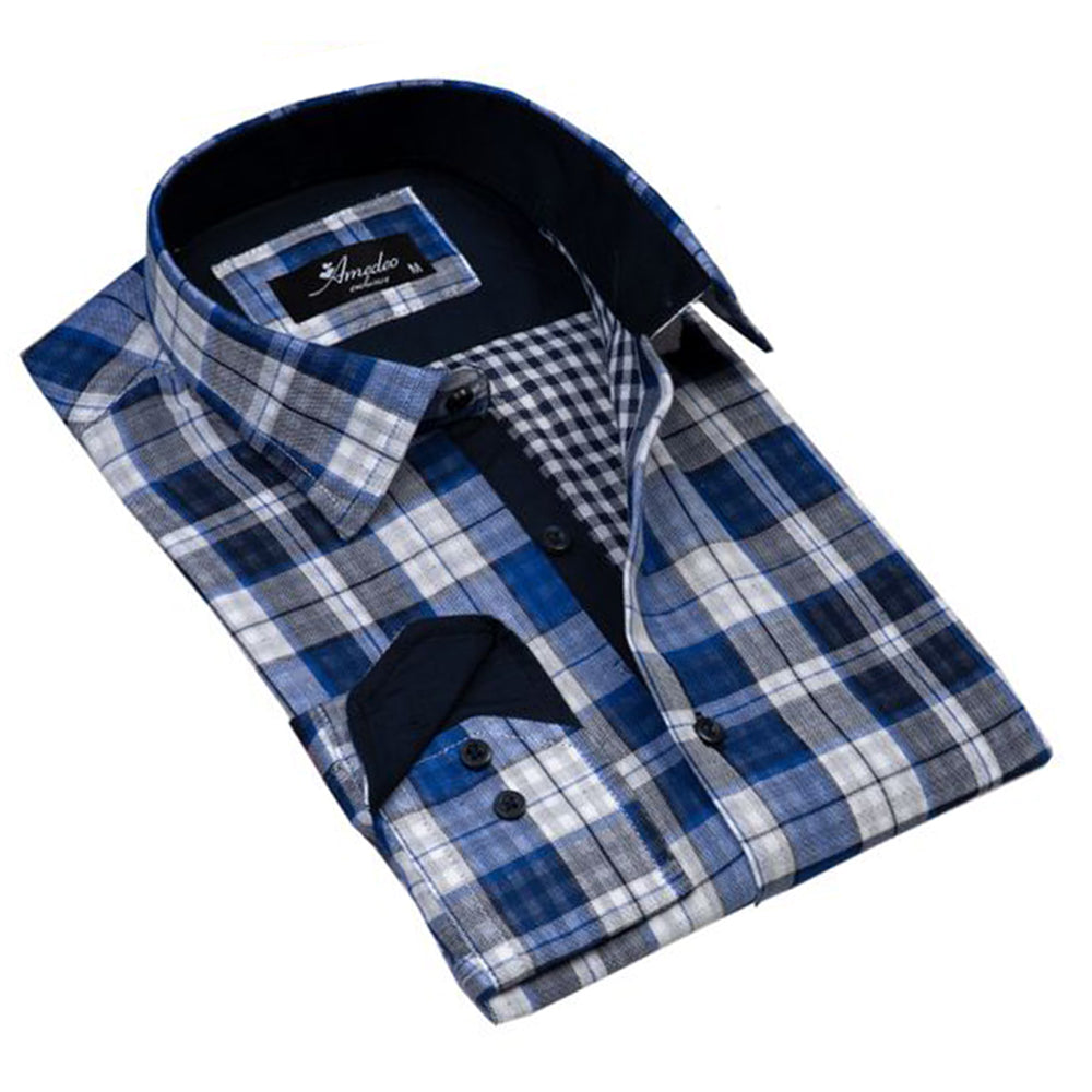 Blue White Check Mens Slim Fit Designer Dress Shirt - tailored Cotton Shirts for Work and Casual - Amedeo Exclusive