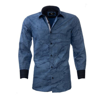 Men's European Reversible Tailor Fit Button Down Dress shirt Denim Blue 100% Cotton - Amedeo Exclusive