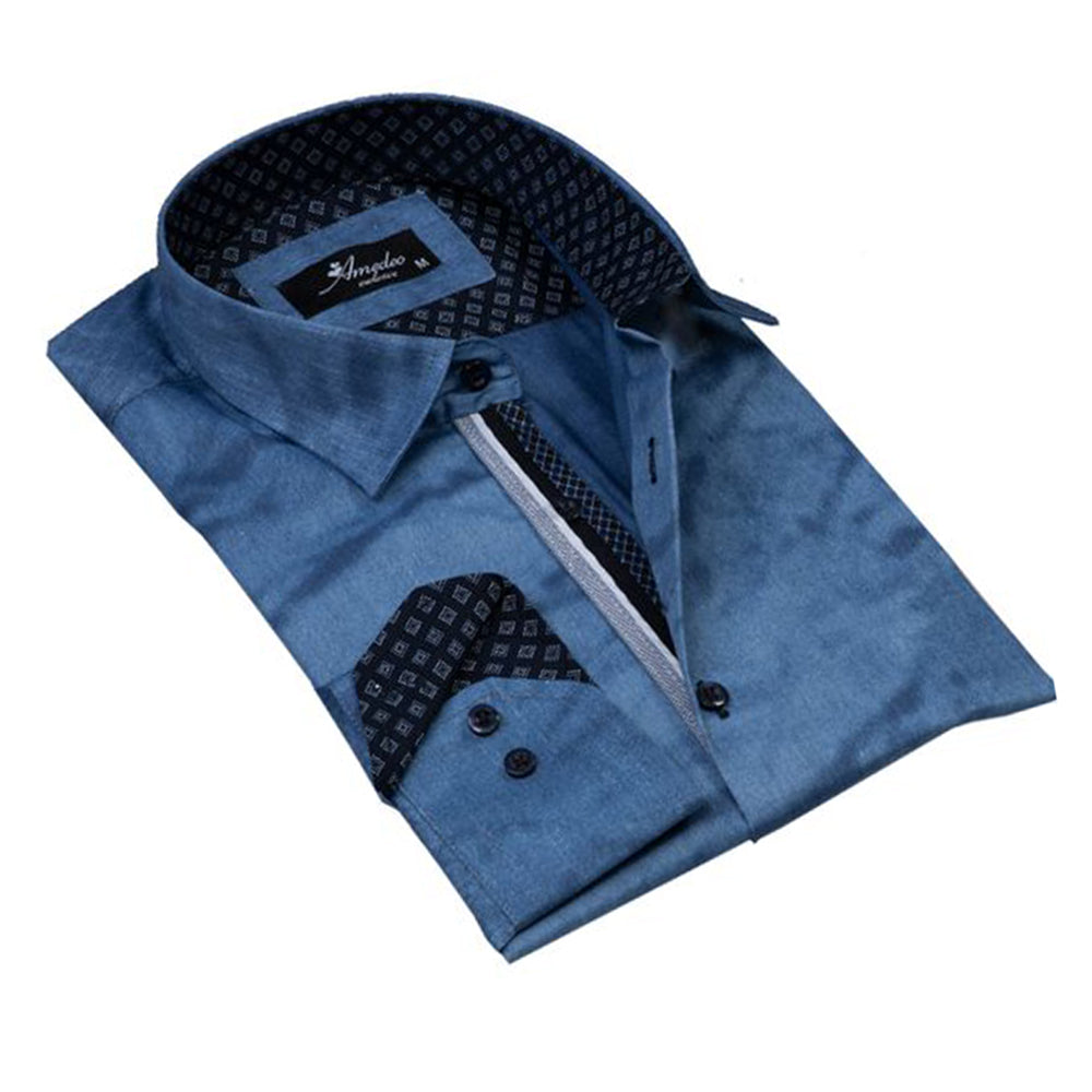 Denim Blue Mens Slim Fit Designer Dress Shirt - tailored Cotton Shirts for Work and Casual Wear - Amedeo Exclusive