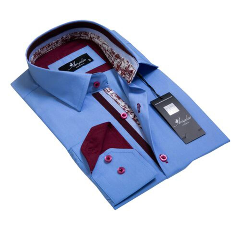 Blue with Burgandy Mens Slim Fit Designer Dress Shirt - tailored Cotton Shirts for Work and Casual - Amedeo Exclusive