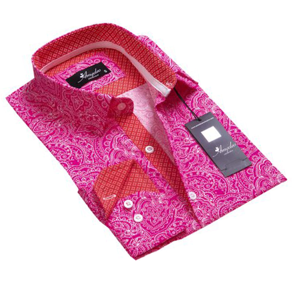 Men's European Reversible Tailor Fit Button Down Dress shirt Pink Red & White Paisley 100% Cotton - Amedeo Exclusive