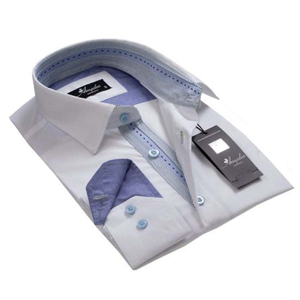 Men's European Reversible Tailor Fit Button Down Dress shirt Solid White with Denim Blue 100% Cotton - Amedeo Exclusive