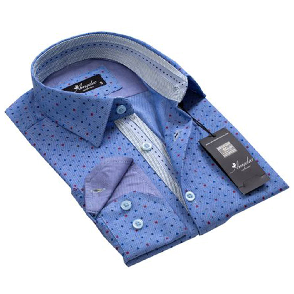 Men's European Reversible Tailor Fit Button Down Dress shirt Geometric Denim Blue 100% Cotton - Amedeo Exclusive