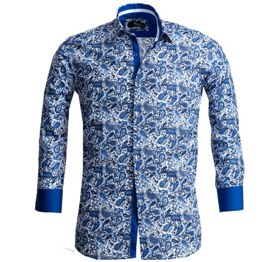 Men's White Blue Paisley Reversible Cuff Button Down Shirt Made with 100% Cotton - Amedeo Exclusive