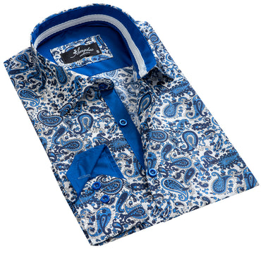 Men's European Reversible Tailor Fit Button Down Dress shirt White Blue Paisley 100% Cotton - Amedeo Exclusive
