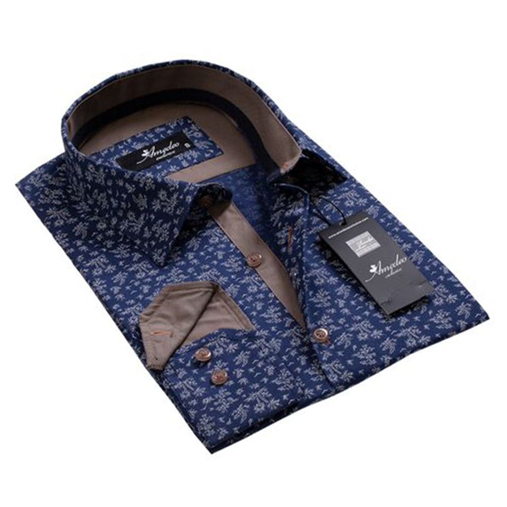 Tropical Navy Blue Mens Slim Fit Designer Dress Shirt - tailored Cotton Shirts for Work and Casual - Amedeo Exclusive