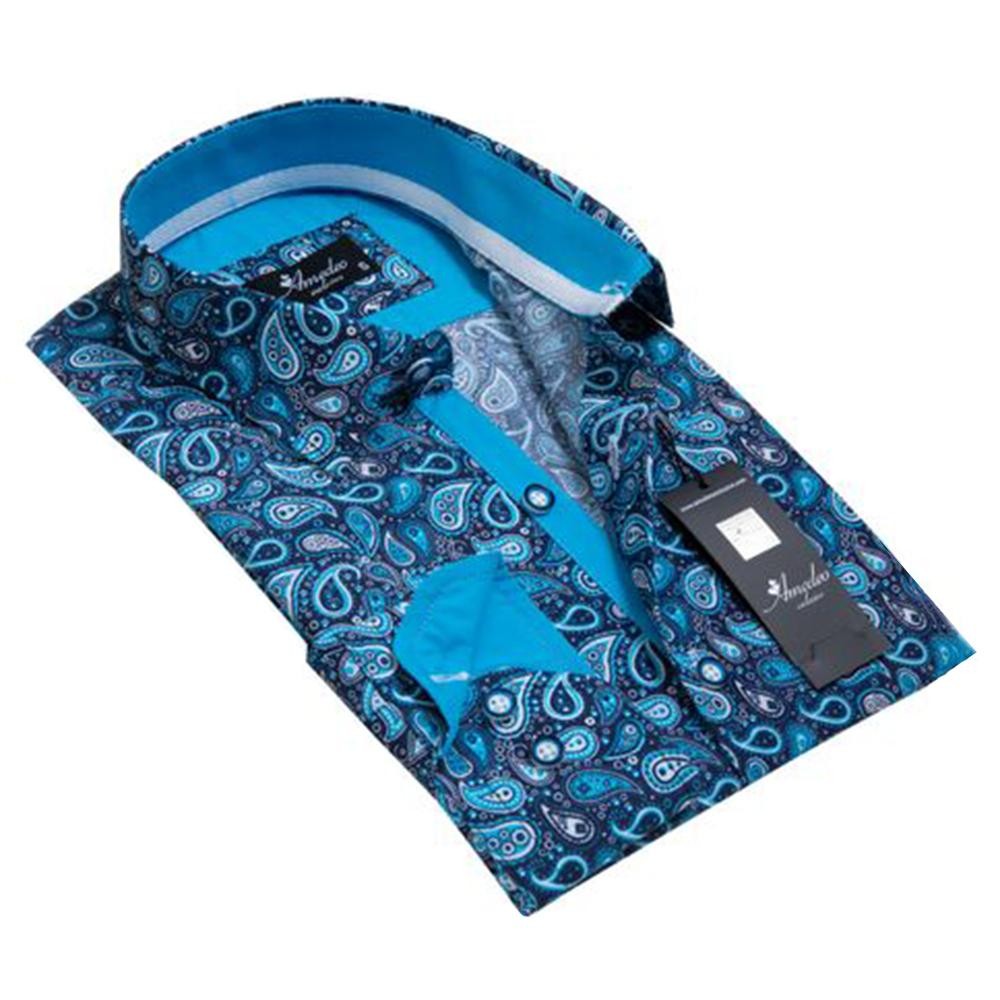 Mens Button Down Slim Fit Dress Shirt With Reversible Cuff In Blue Paisley Casual And Formal