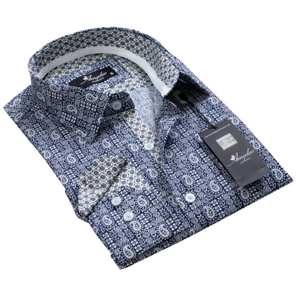 Mens Button Down Slim Fit 100% Cotton Summer Dress Shirt With Reversible Cuff In Navy Blue & White Paisley Casual And Formal
