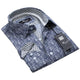 Navy Blue with White Paisley Mens Slim Fit Designer Dress Shirt - tailored Cotton Shirts for Work - Amedeo Exclusive