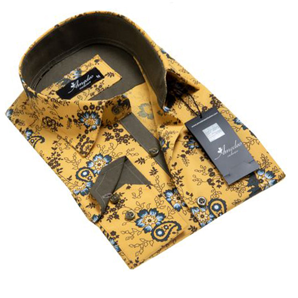 Mens Button Down Slim Fit 100% Cotton Summer Dress Shirt With Reversible Cuff In Yellow Floral Casual And Formal