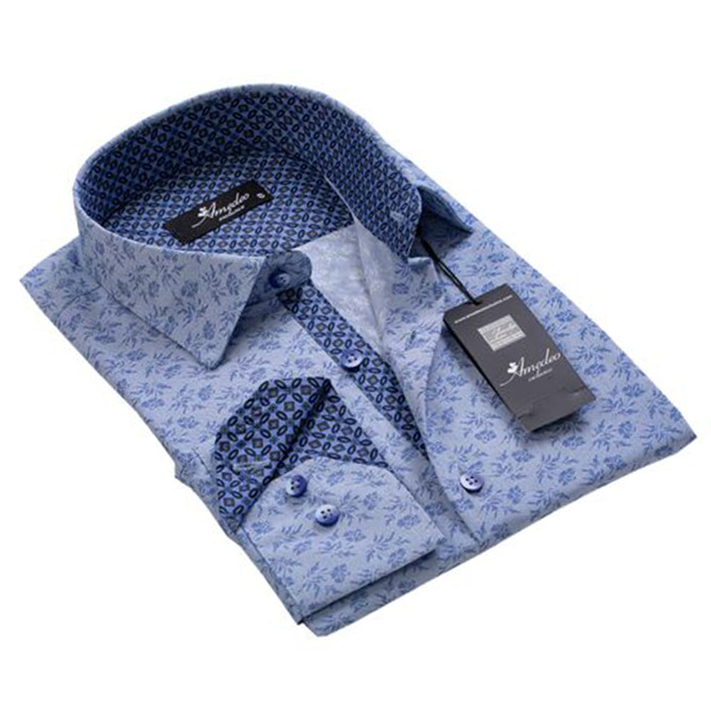 Mens Button Down Slim Fit 100% Cotton Summer Dress Shirt With Reversible Cuff In Light Blue Grey Floral Casual And Formal