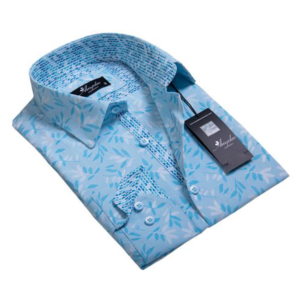 Turquoise Blue Floral Mens Slim Fit Designer Dress Shirt - tailored Cotton Shirts for Work and - Amedeo Exclusive
