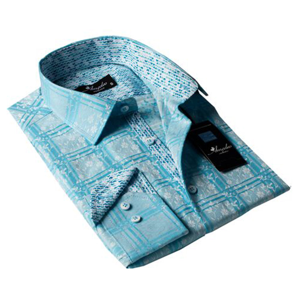 Turquoise Check Blue Floral Mens Slim Fit Designer Dress Shirt - tailored Cotton Shirts for Work and - Amedeo Exclusive