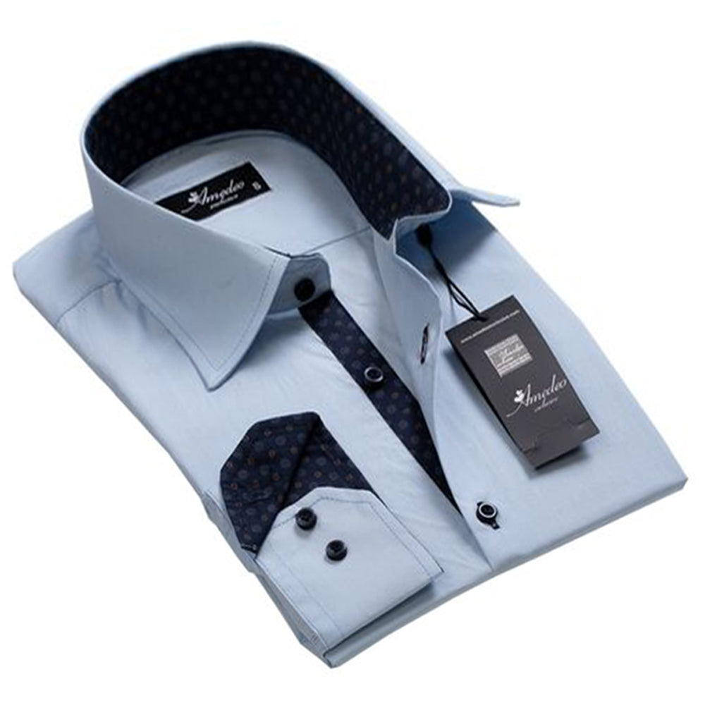 Mens Button Down Slim Fit Dress Shirt With Reversible Cuff In Rich Light Blue solid Long sleeve Casual And Formal