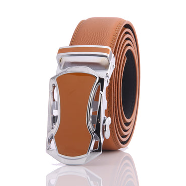 Amedeo Exclusive Men's Tan Belt Tan Buckle Genuine Leather - Amedeo Exclusive