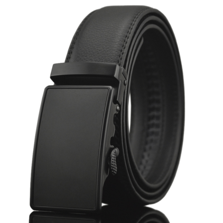 Men's Black Belt - Black Buckle Genuine Leather