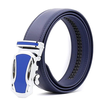 Men's Blue Belt-Blue Buckle Genuine Leather