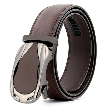 Men's Genuine Leather Automatic Smart Ratchet Belt No holes! Brown