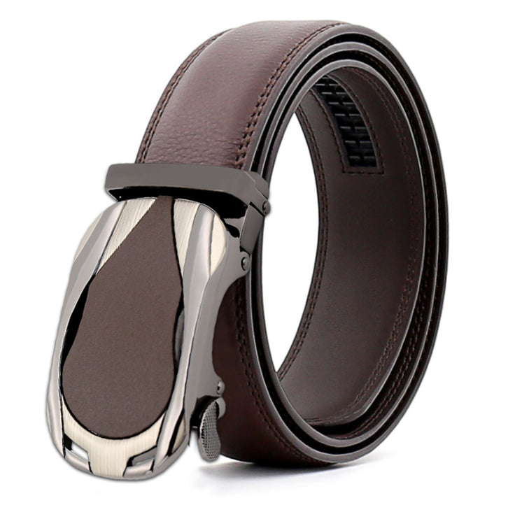 Men's Brown Belt - Silver + Brown Buckle Leather