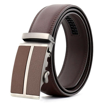 Amedeo Exclusive Men Brown Belt - Silver + Brown Buckle Leather