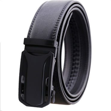 Amedeo Exclusive Men Black Belt - Black Matte Automatic Buckle Leather