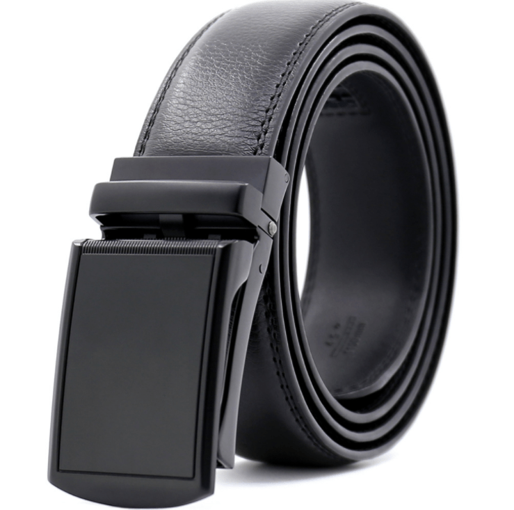 Men's Genuine Leather Smart Ratchet Automatic Belt Perfect Fit No holes! Black - Amedeo Exclusive
